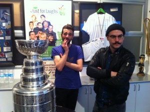 Jay Baruchel, Marc-Andre Grondin and the Stanley Cup. That's a shaved head under that toque if you're wondering! Top Shelf photo by Brendan Kelly.